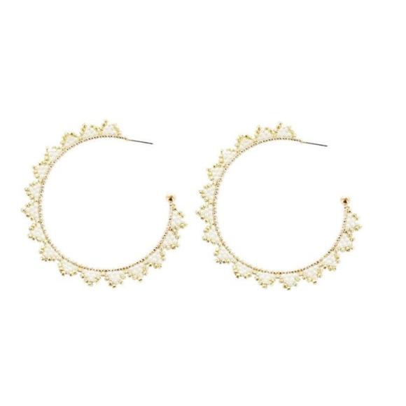 Panacea|NWT Beaded Triangle Trim Hoop Earrings